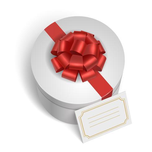 Klassisk presentförpackning med rött band och båge