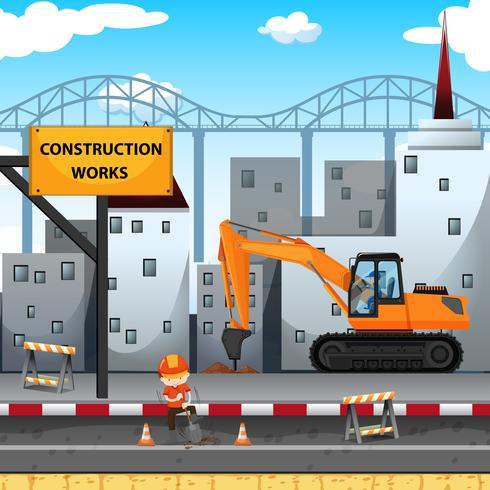 Construction work site with worker and drill truck