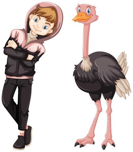 Adolescente con lindo avestruz
