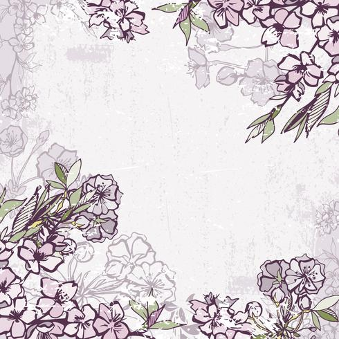 Marco decorativo con flor de cerezo o sakura.