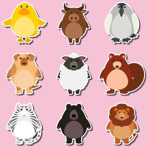 Stickerontwerp met wilde dieren