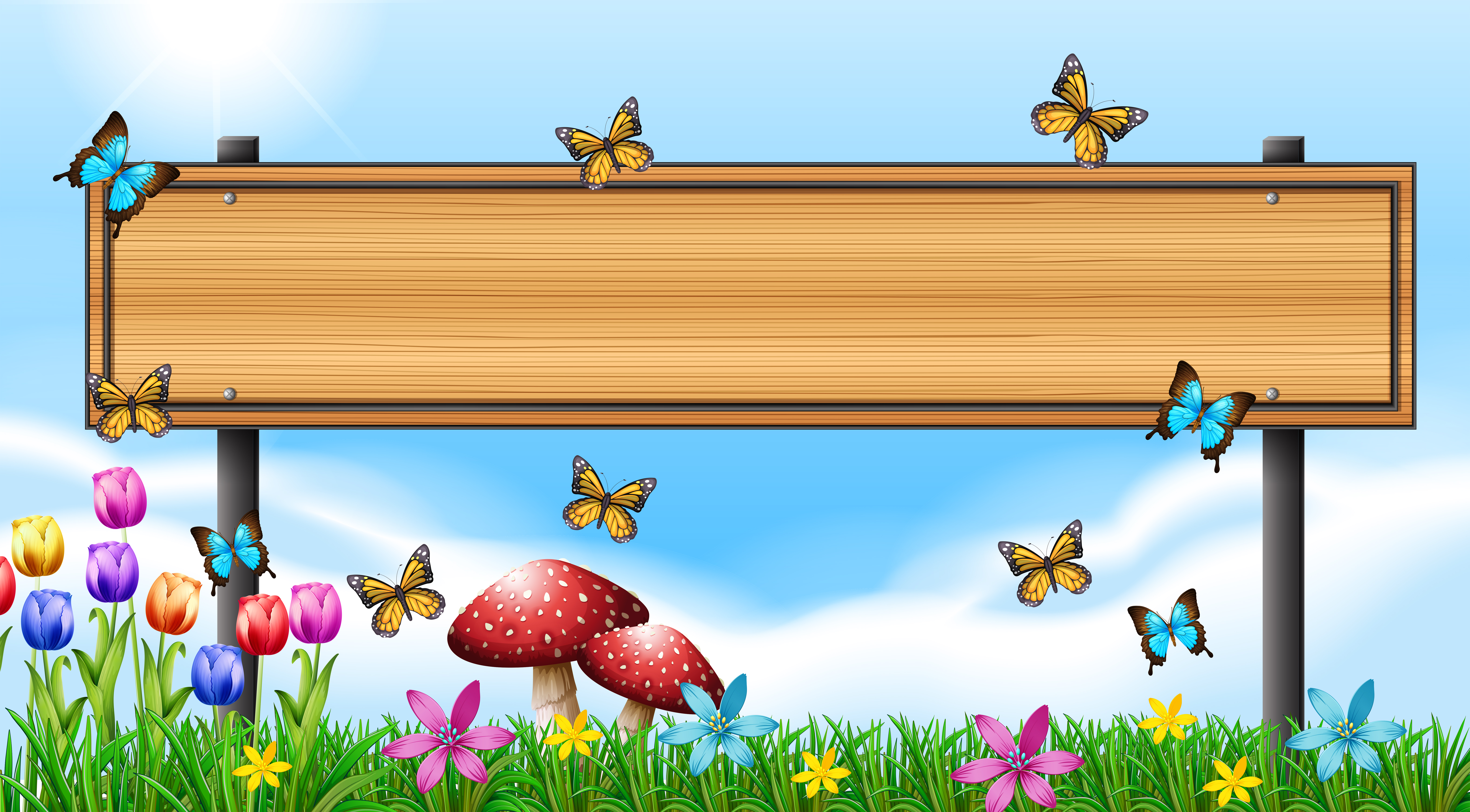 Wooden sign template with butterflies in garden - Download ...