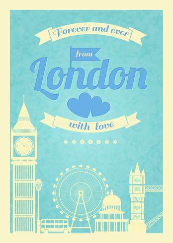 Affiche rétro vintage Love London vecteur
