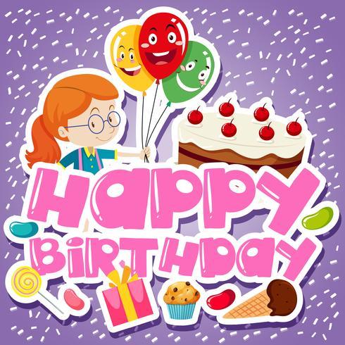 Modelo de cartão de aniversário com menina e bolo