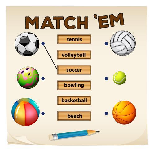 Jogo de correspondência com esportes e bolas vetor