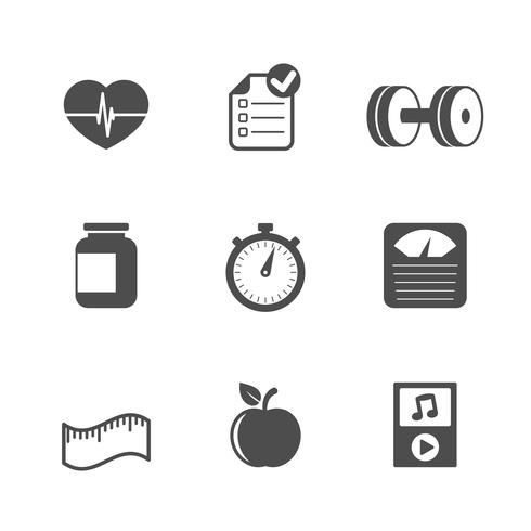 Fitness icons set, contrast flat