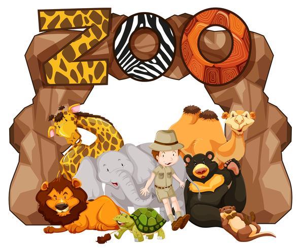 Entrada do zoológico com muitos animais selvagens vetor