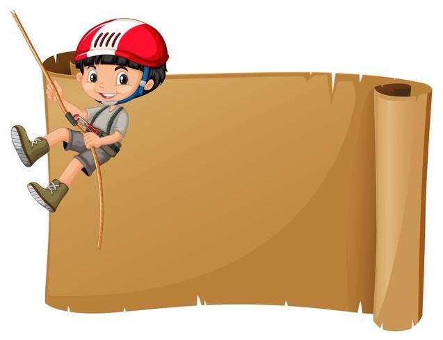 Modelo de papel com corda de escalada de menino