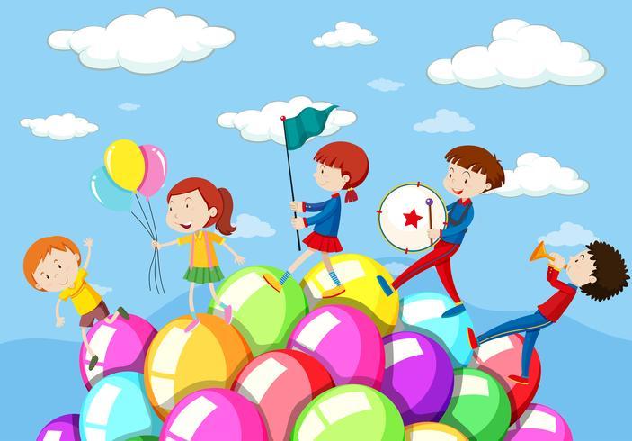 Kinder spielen in der Band
