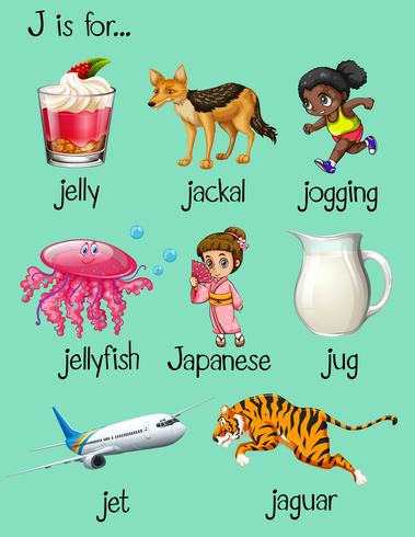vector-words-begin-with-letter-j Jellyfish Template For Letter J on jellyfish craft, printable juice, jungle animal, lower case alphabet, logo design, for toddlers, cut out,