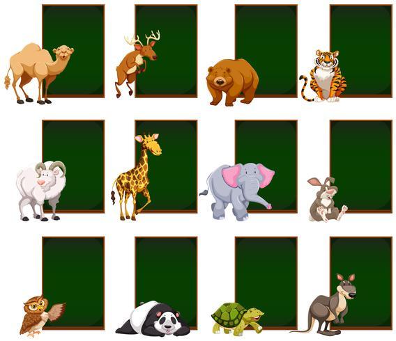 Tableau blanc avec des animaux sauvages