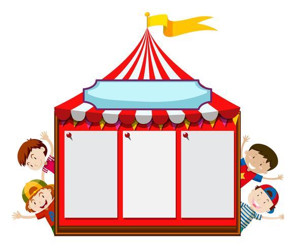 Modello di scheda con bambini e tenda