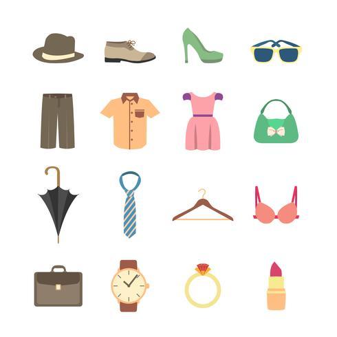 Iconos de moda y accesorios de ropa.
