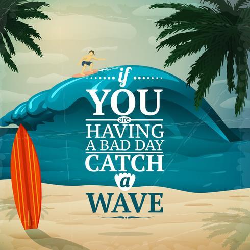 Attraper une affiche de planche de surf vecteur