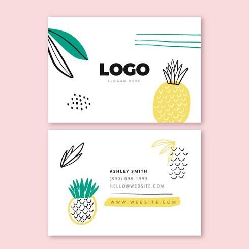 Hand Drawn Business Card Template With Pinepple And Leaves