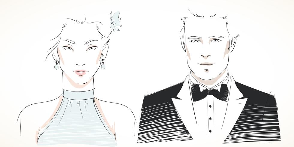 Young fashionable couple portraits vector