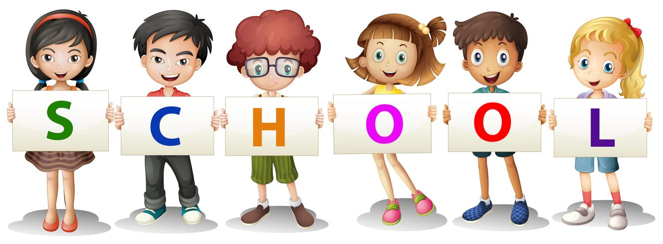 Crianças, formando, a, escola, letras