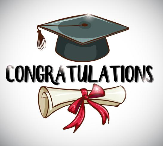 Congratulations card template with cap and degree