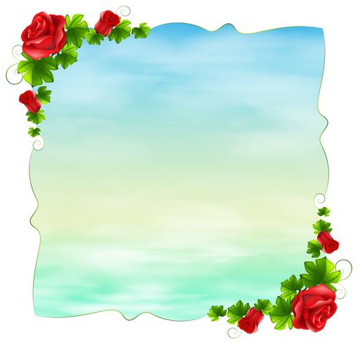 An empty template with red roses vector
