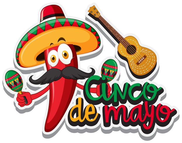 Peperoncino rosso con cappello messicano e maracas