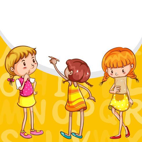 Hintergrunddesign mit den lesenden und schreibenden Mädchen