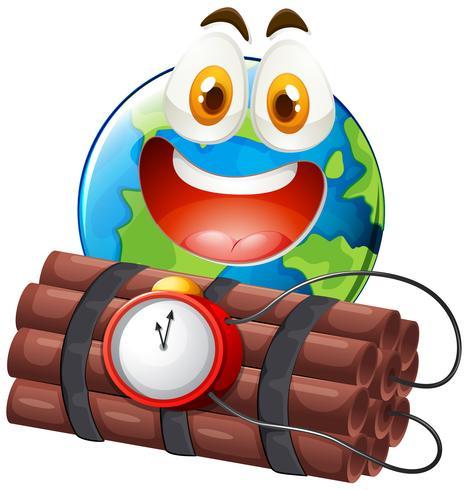 Erde mit glücklichem Gesicht und Zeitbombe