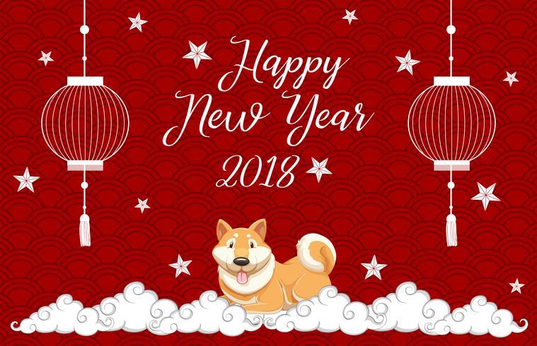 Kartenschablone des neuen Jahres mit Hund auf rotem Hintergrund