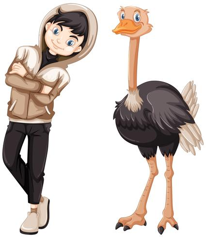 Teenage boy and wild ostrich