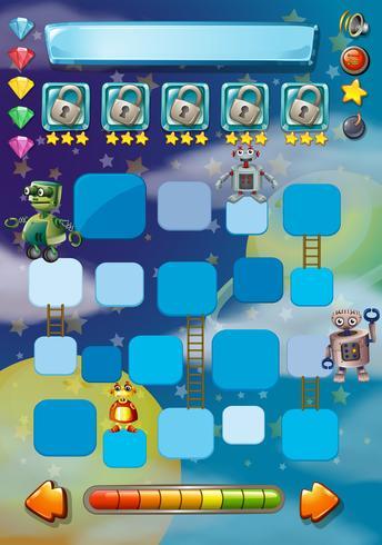 Plantilla de juego con robots en segundo plano