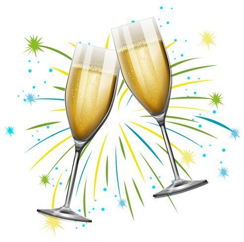 Twee glazen champagne met vuurwerkachtergrond