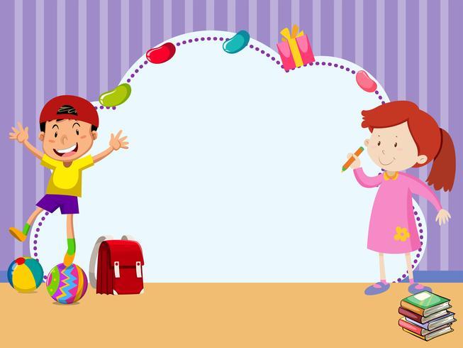 Grenzschablone mit Kindern im Raum