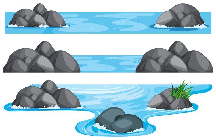 Tre scener av flod och sjö