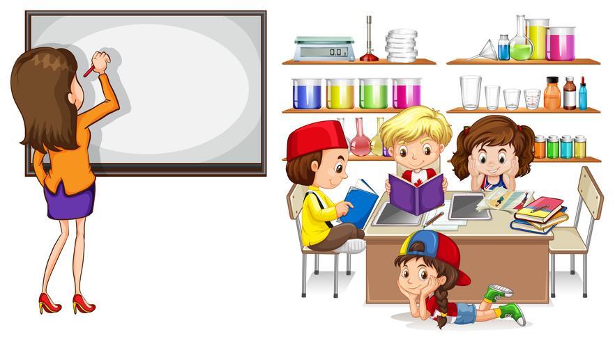 Professora e crianças na sala de aula