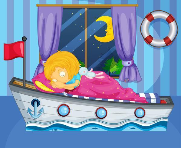Uma menina dormindo em sua cama como um barco
