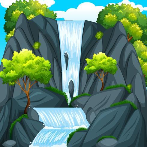 Bella cascata e alberi verdi
