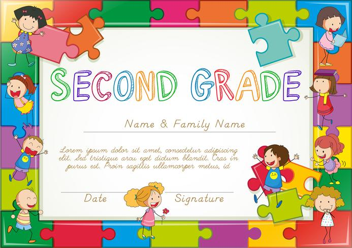 Certificate template for second grade students
