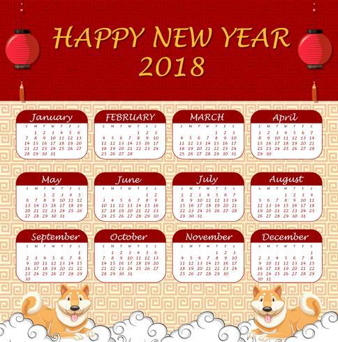 2018 kalendersjabloon met Chinees thema