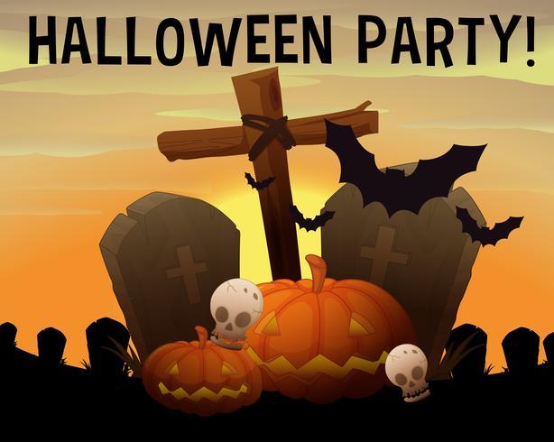 Halloween tema med kyrkogård och pumpa