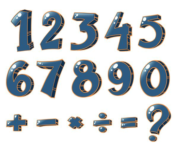 Numeric figures and mathematical operations vector