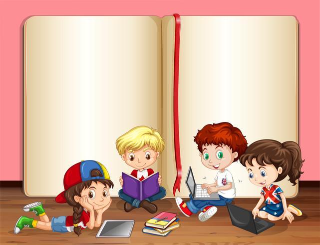 Crianças, trabalhar computador, em, um, sala