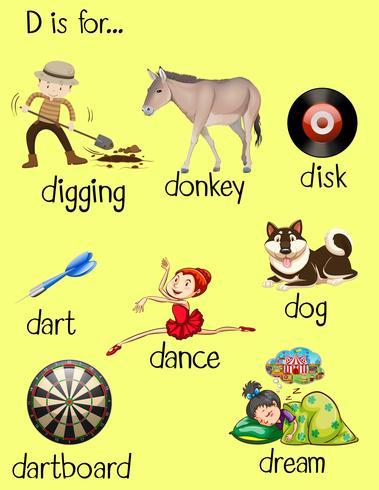 Palavras diferentes para letra D