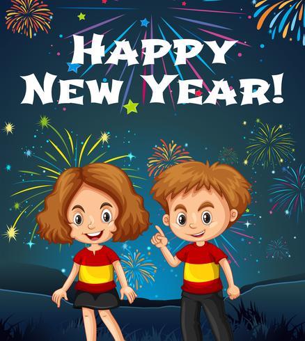 Modelo de cartão de feliz ano novo com crianças e fogos de artifício
