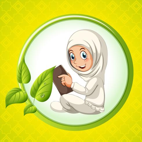 Muslim girl reading book