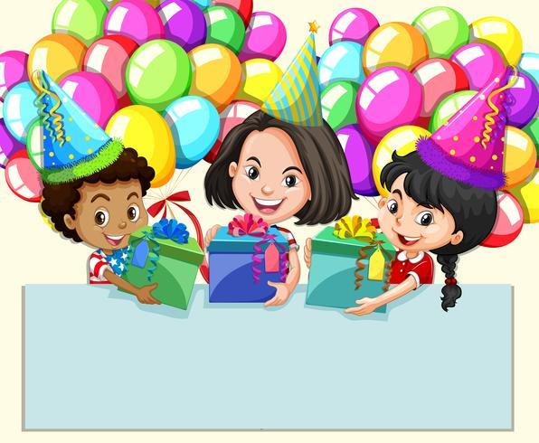 Grensontwerp met meisjes en cadeautjes