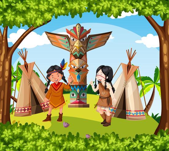 Indios Nativos Americanos Na Tribo Download Vetores Gratis