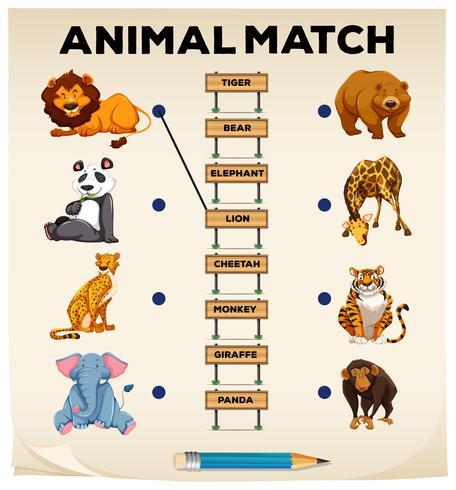 Animal a juego con imágenes y palabras vector