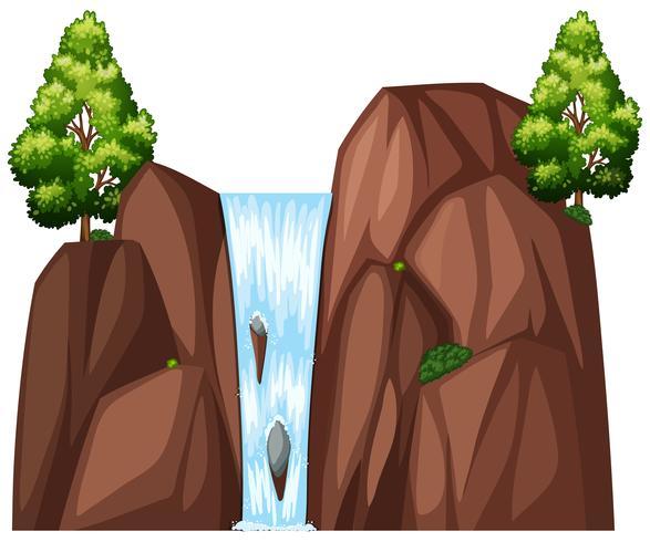 Cachoeira e duas grandes árvores