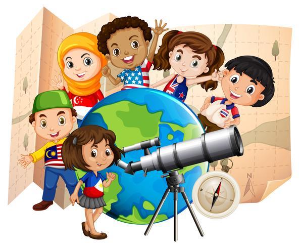 Crianças, com, telescópio, e, mapa mundial vetor