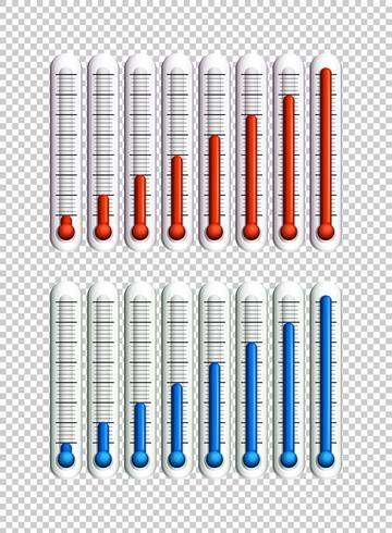 Líquidos azuis e vermelhos em termômetros