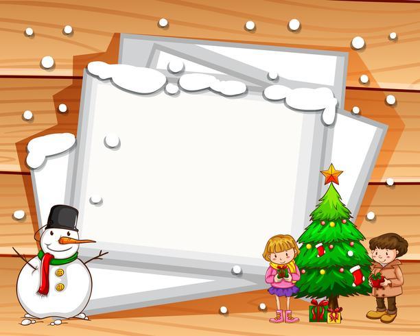 Design de fronteira com boneco de neve e árvore vetor